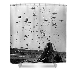 Paratroopers Jump From From C-119s Shower Curtain by Stocktrek Images
