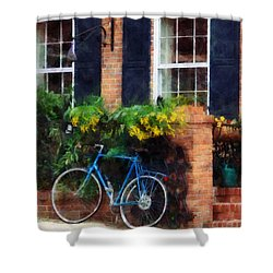 Parked Bicycle Shower Curtain by Susan Savad