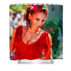 Passionate Gypsy Blood. Flamenco Dance Shower Curtain by Jenny Rainbow