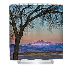 Peaceful Early Morning Sunrise Longs Peak View Shower Curtain by James BO  Insogna