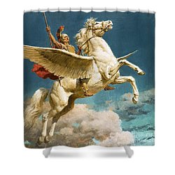 Pegasus The Winged Horse Shower Curtain by Fortunino Matania