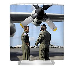 Personnel Conduct A Pre-flight Briefing Shower Curtain by Stocktrek Images