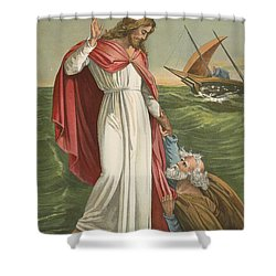 Peter Walking On The Sea Shower Curtain by English School