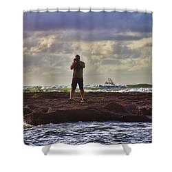 Photographing Seaside Life Shower Curtain by Douglas Barnard