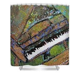 Piano Aqua Wall - Cropped Shower Curtain by Anita Burgermeister