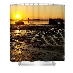 Pier At Sunset Shower Curtain by Carlos Caetano