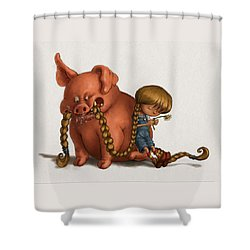Pig Tales Chomp Shower Curtain by Andy Catling