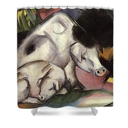Pigs Shower Curtain by Franz Marc