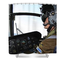 Pilot In The Cockpit Of A Ch-46 Sea Shower Curtain by Daniel Karlsson