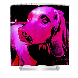 Pink And Purple Pooch Shower Curtain by Kym Backland