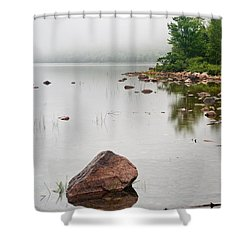 Pink Granite In Jordan Pond At Acadia Shower Curtain by Steve Gadomski