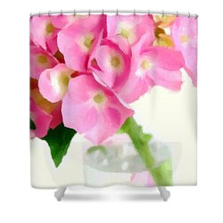 Pink Hydrangea In A Glass Vase Shower Curtain by Anne Kitzman