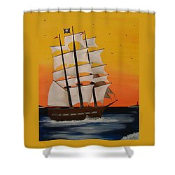 Pirate Ship At Dawn Shower Curtain by Paul F Labarbera