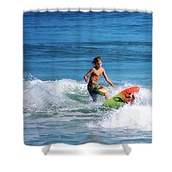 Playing In The Surf Shower Curtain by David Lane