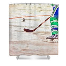 Playing The Puck Shower Curtain by Karol Livote