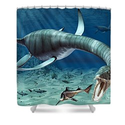 Plesiosaur Attack Shower Curtain by Roger Harris and Photo Researchers
