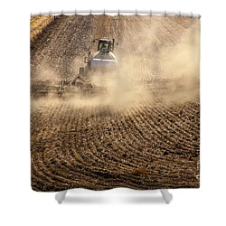 Plowing The Ground Shower Curtain by Mike  Dawson