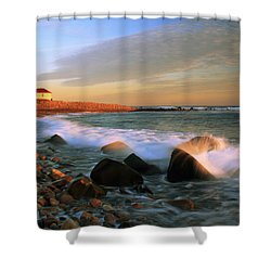 Point Judith Lighthouse Seascape Shower Curtain by Roupen  Baker