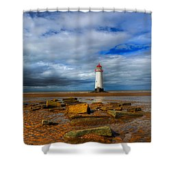 Point Of Ayr Beach Shower Curtain by Adrian Evans