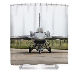 Polish F-16c Block 52 At Albacete Shower Curtain by Timm Ziegenthaler