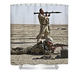 Polish Soldiers Prepare To Fire Shower Curtain by Stocktrek Images