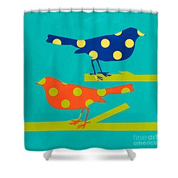 Polka Dot Birds Shower Curtain by Linda Woods