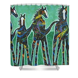 Pony Pastures Shower Curtain by Lance Headlee