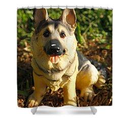 Porcelain German Shepherd Shower Curtain by Gaspar Avila