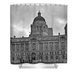 Port Of Liverpool Building Shower Curtain by Georgia Fowler
