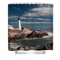 Portland Head Light 19482c Shower Curtain by Guy Whiteley