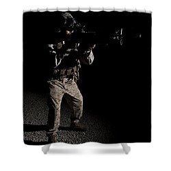 Portrait Of A U.s. Marine In Northern Shower Curtain by Terry Moore