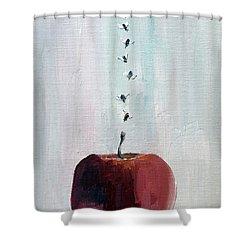 Portrait Of Seven Flies Flying Over An Apple Shower Curtain by Fabrizio Cassetta