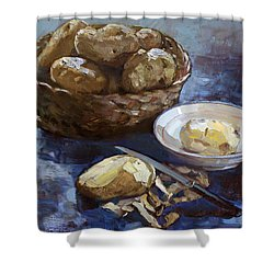 Potatoes Shower Curtain by Ylli Haruni