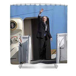 President George Bush Waves Good-bye Shower Curtain by Stocktrek Images