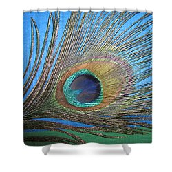 Purdy As A Peacock Shower Curtain by Kathy Clark