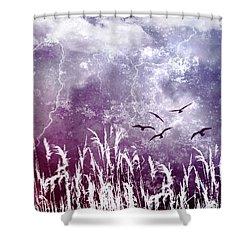 Purple Skies Shower Curtain by Ellen Heaverlo