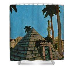 Pyramid Tomb In Cemetary Shower Curtain by John Malone
