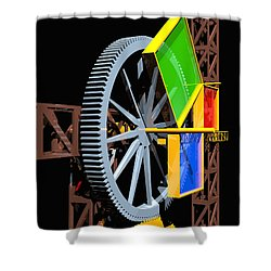 Pythagorean Machine Portrait 1 Shower Curtain by Russell Kightley