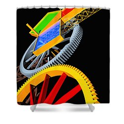 Pythagorean Machine Portrait 5 Shower Curtain by Russell Kightley
