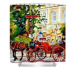 Quebec City Street Scene The Red Caleche Shower Curtain by Carole Spandau