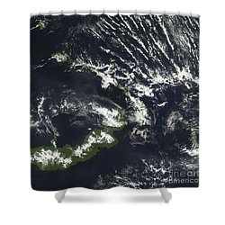 Rabaul Volcano On The Island Of Papua Shower Curtain by Stocktrek Images