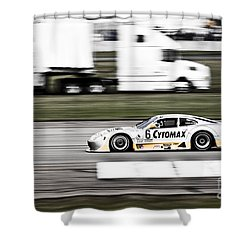 Racing By Shower Curtain by Darcy Michaelchuk