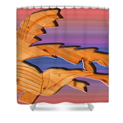 Rainbow Dinosaur Fish Shower Curtain by Robert Margetts