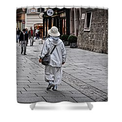 Rainwear In Salzburg Shower Curtain by Mary Machare