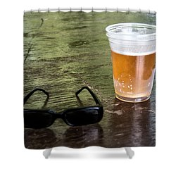Raybans And A Beer Shower Curtain by Bill Cannon