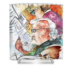 Reading The News 07 Shower Curtain by Miki De Goodaboom