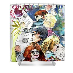 Reading The News 08 Shower Curtain by Miki De Goodaboom