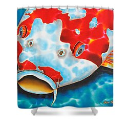 Red And White Koi     Shower Curtain by Daniel Jean-Baptiste