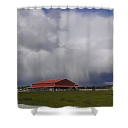 Red Barn And Stormy Sky Shower Curtain by Mick Anderson
