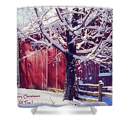 Red Barn In The Winter Connecticut Usa Shower Curtain by Sabine Jacobs